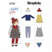 8706 Simplicity Pattern: Babies' Leggings, Top, Pinafore, Hat and Scarf